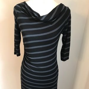 LOFT Gray and Black Stripe Mini Cowl Dress